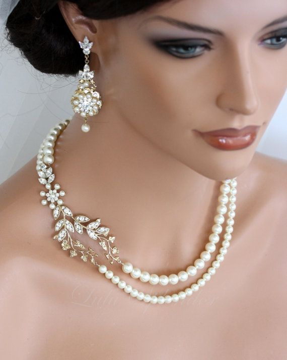 Wedding Pearl Necklace Vine Leaf Gold Bridal Swarovski Ivory White Art Deco Jewelry Neve