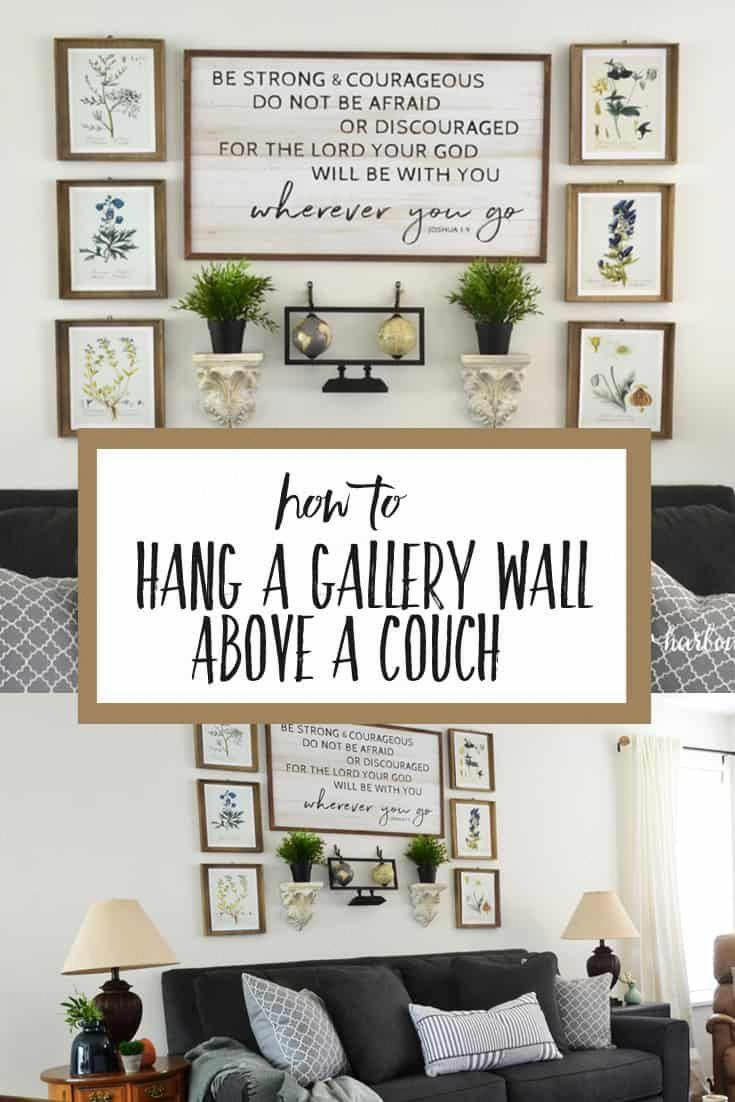 how to hang a gallery wall above a couch using this simple rh pinterest com