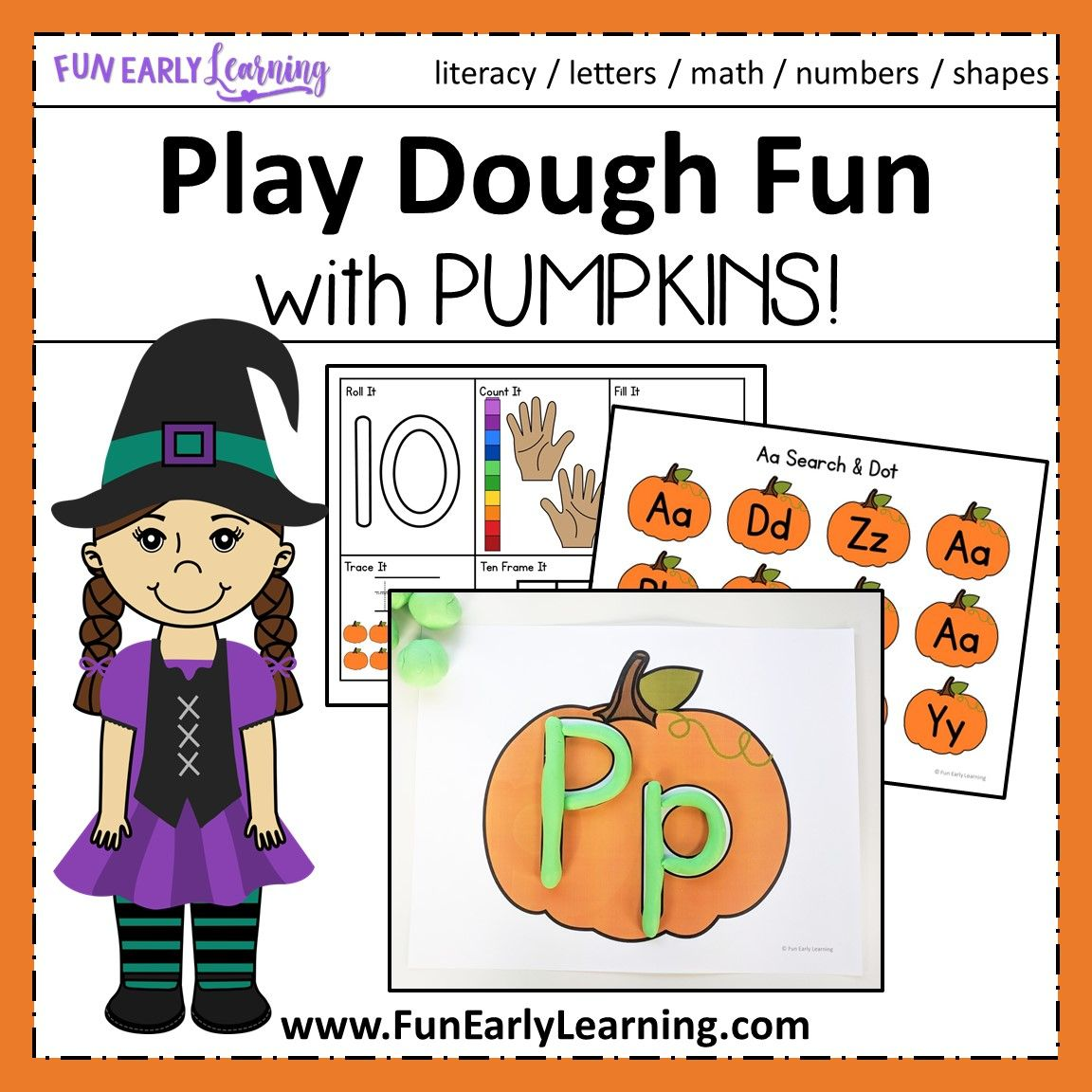 Play Dough Fun With Pumpkins Math And Literacy Activities