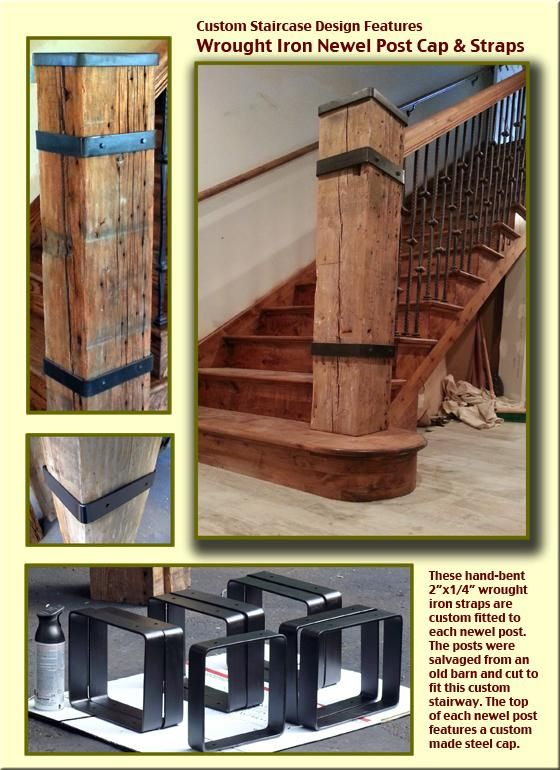 Wrought Iron Newel Post Cap Strap Staircase