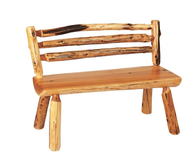Log Bench With Back   72 Inch