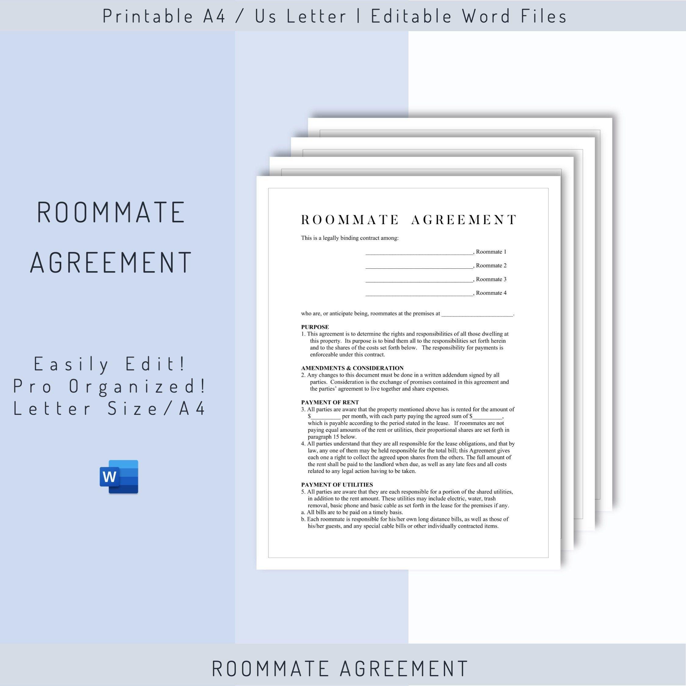 Editable Roommate Agreement Template Roommate Rules Etsy Roommate Rules Roommate Agreement Template Roommate Agreement