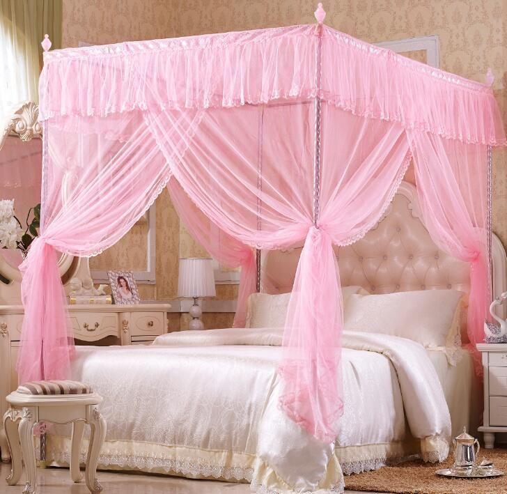Romantic Luxury Princess Four Corner Post Bed Canopy Mosquito