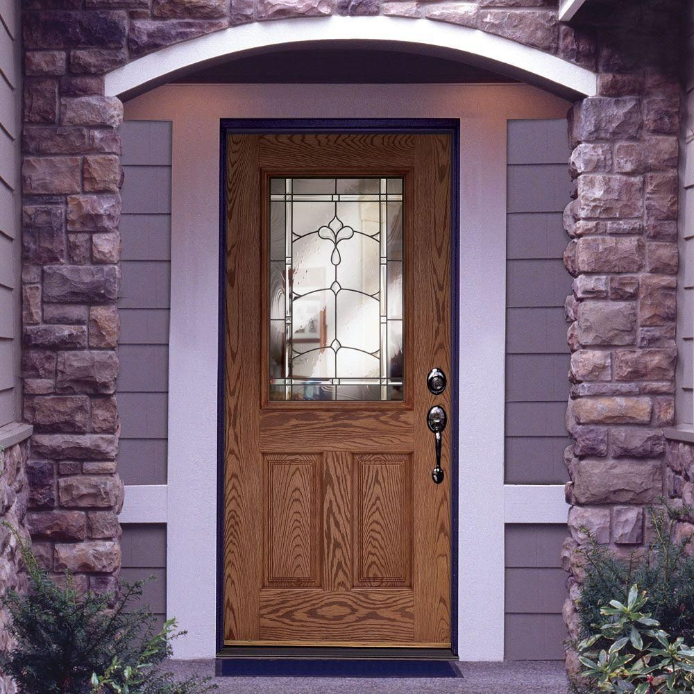 home depot front entry doorsFeather River Doors Carmel Patina Half Lite Medium Oak Fiberglass