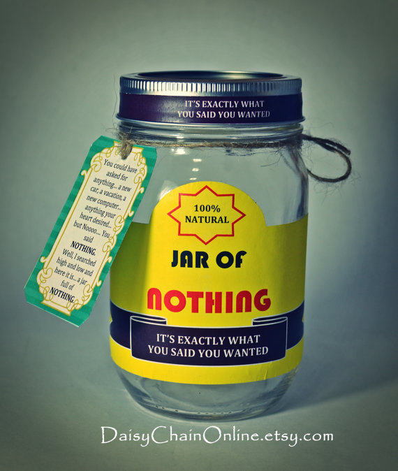 Jar Of Nothing Gag Gift White Elephant Gift Printable Labels For