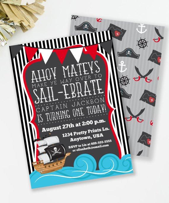 Pirate Birthday Invitation Nautical Boy Invite Swim Party Ahoy Mateys