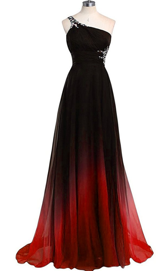 39b8f5f5346 One Shoulder Gradual Chiffon Long Prom Dresses Fashion Party Dress on Luulla
