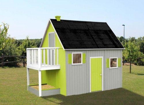 Cabane enfant Duplex - Maisonnette En Bois Avec Bac A Sable