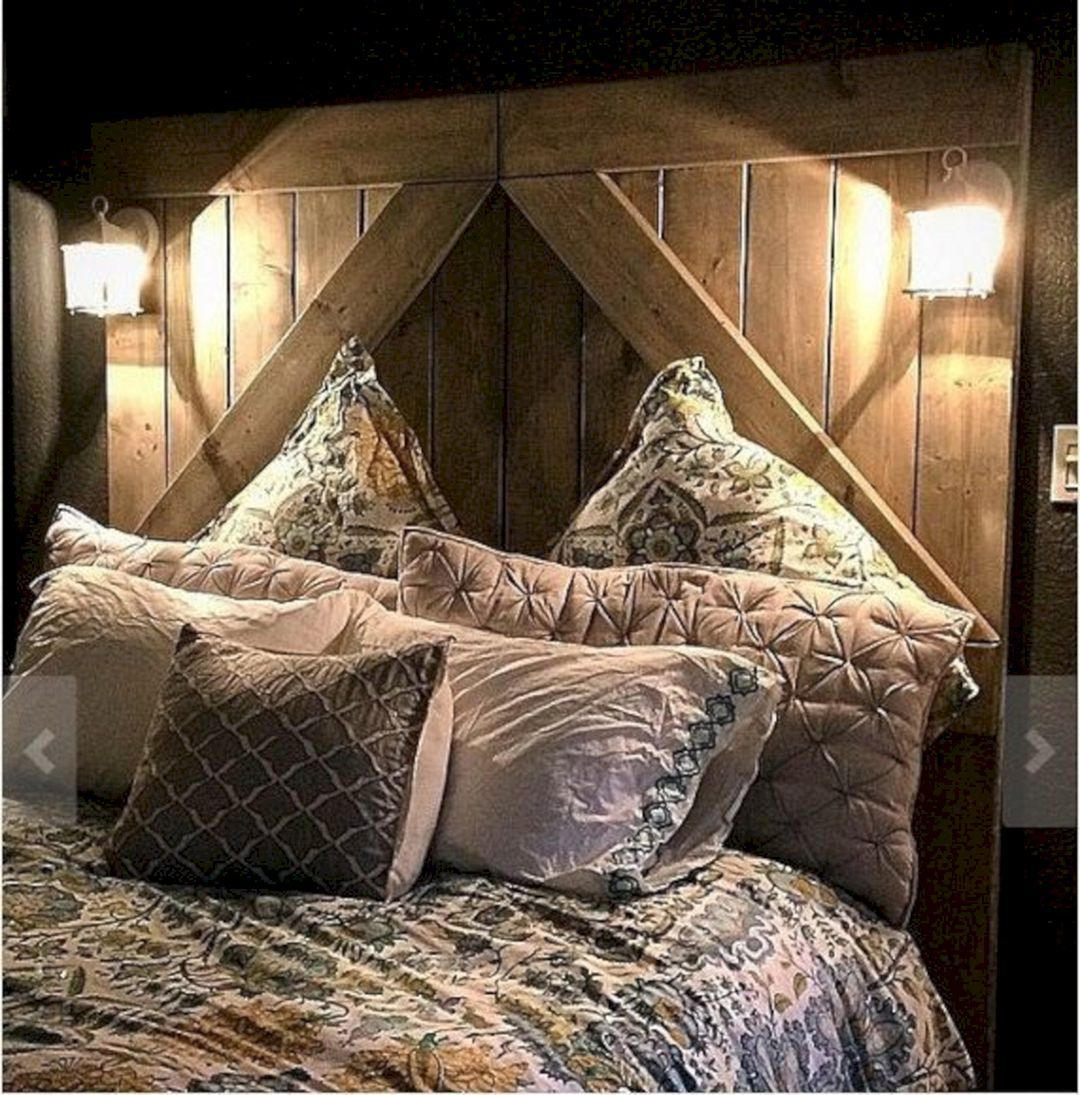 Barndoor Headboard With Lights
