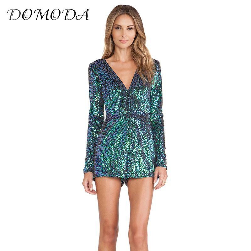 DOMODA 2017 Fashion Blue Sequin Romper Women V-Neck Long Sleeve Playsuit Female Sexy Conceal Zippers Slim Party Boysuit