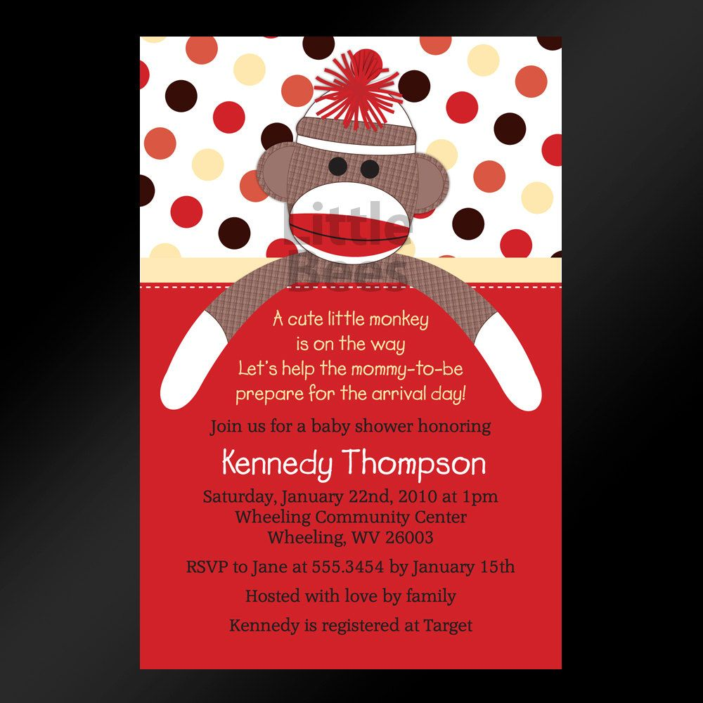 Sock Monkey Printable Baby Shower Invitation Digital File. $12.99 ...