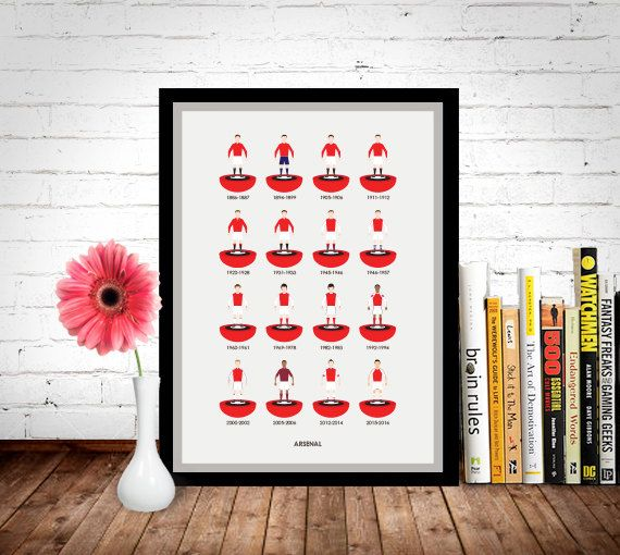 Arsenal Football Poster, Football Poster, Football Print.  Sizes available: A3 (11.7 x 16.5 in) A2 (16.5 x 23.4 in) A1 (23.4 x 33.1 in)  Printed on