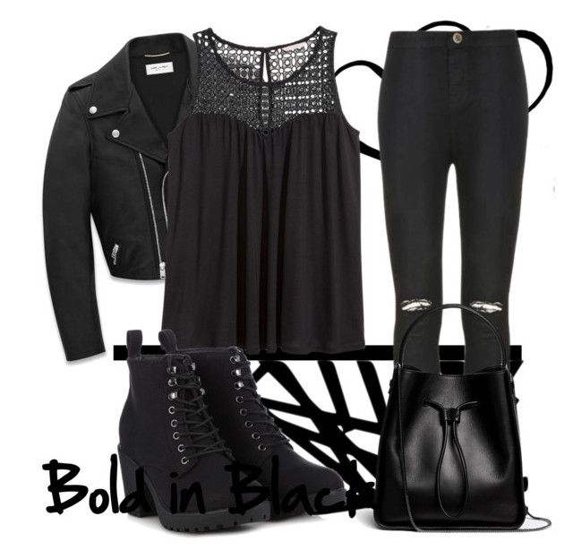 """""""BOLD IN BLACK!"""" by stargirl717 ❤ liked on Polyvore featuring Yves Saint Laurent, H&M, Ally Fashion, Call it SPRING and 3.1 Phillip Lim"""
