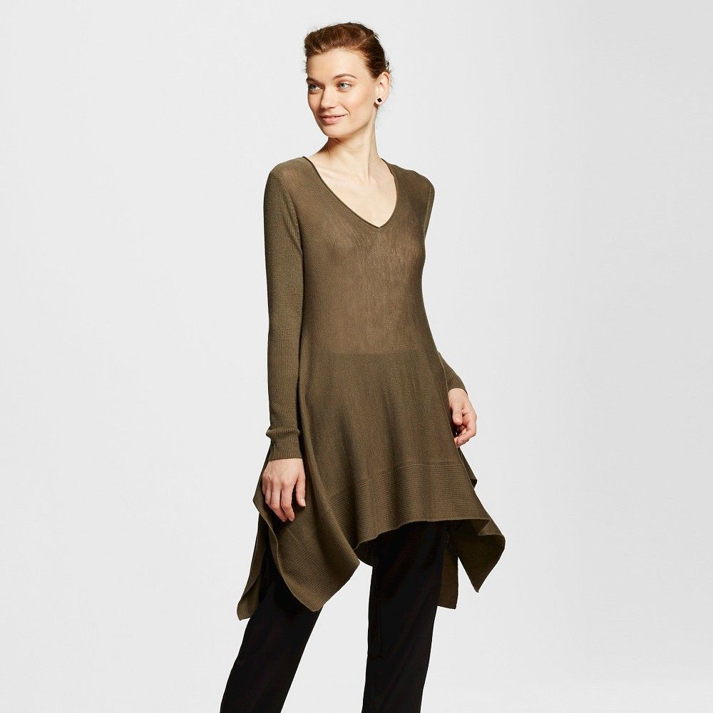 Women's Sharkbite Tunic Sweater Olive Green Xxl - Mossimo | Products