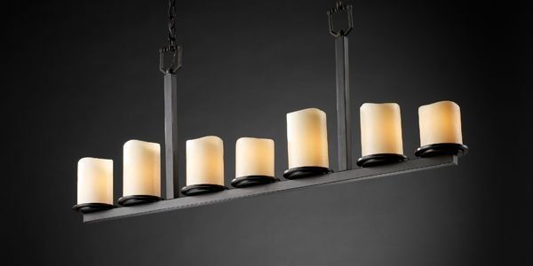 Justice Design Group CNDL-8779-14-CREM-MBLK Matte Black Dakota 7 Light 1 Tier Linear Chandelier from the CandleAria Collection - LightingDirect.com