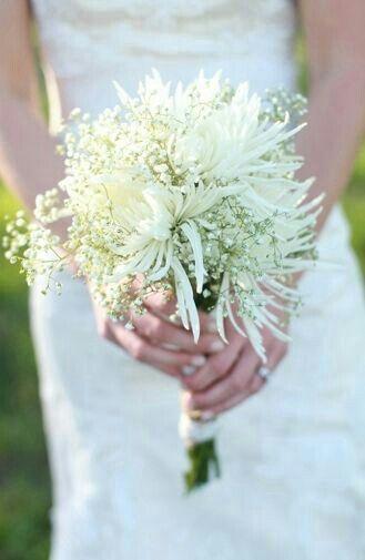 Wedding Bouquet With White Spider Mums White Gypsophila Beach Wedding Flowers White Flower Bouquet Beach Wedding Decorations Reception