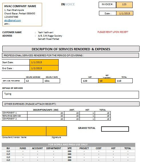 HVAC Invoice Form Free Download HVAC Invoice Templates - example of invoice for services rendered