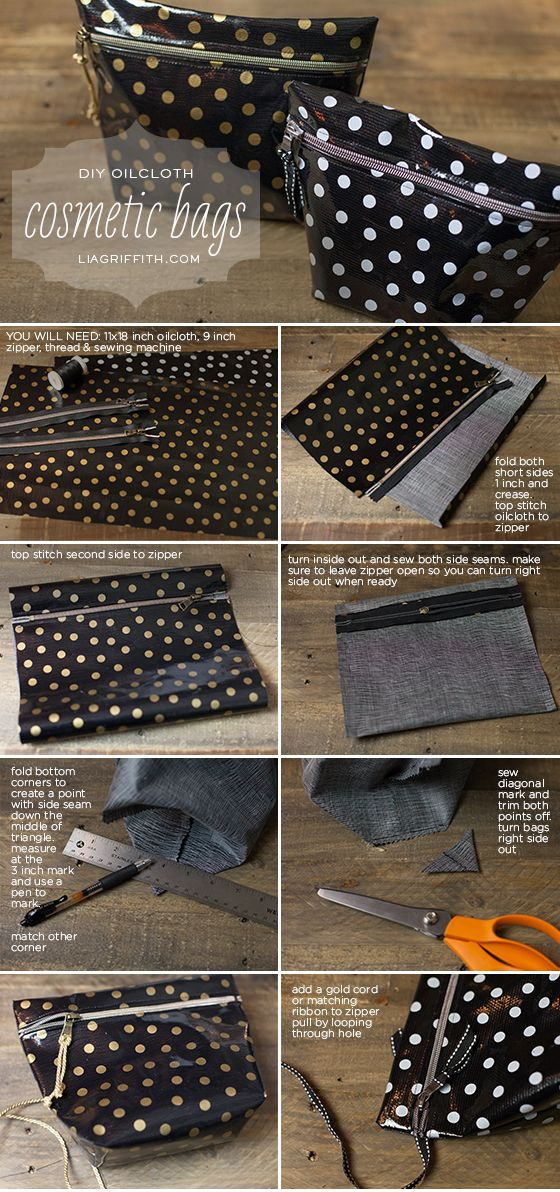 diy oilcloth makeup bags n hen co pinterest. Black Bedroom Furniture Sets. Home Design Ideas