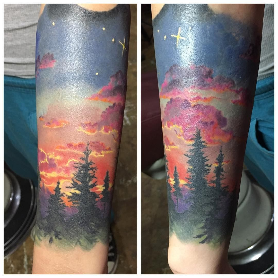 "168 Likes, 8 Comments - Nicole Elizabeth Laabs (@rocklaabster) on Instagram: ""Good start on this sunset piece. Adding on some gnarly space stuff next session. Sorry for the…"""