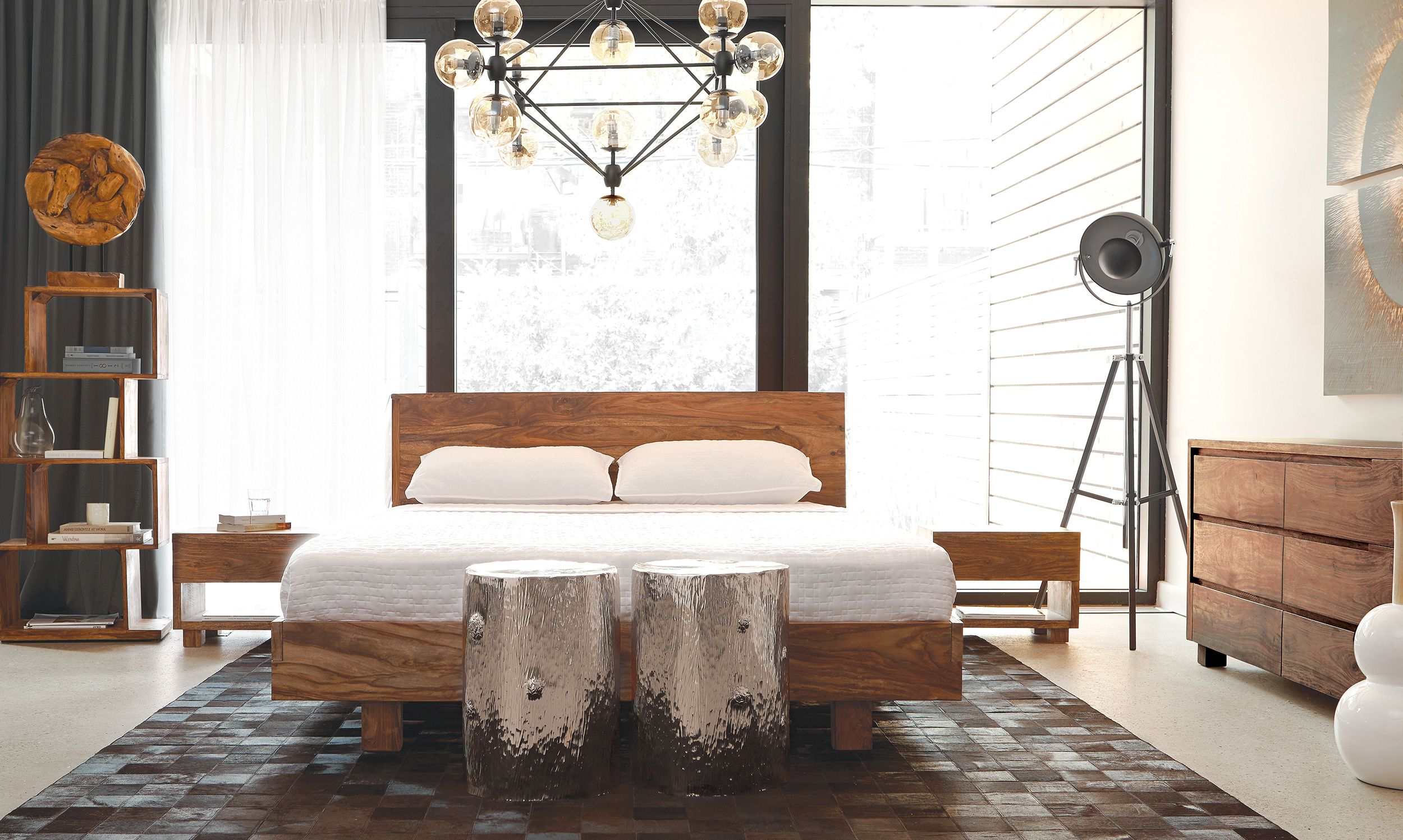 Bedroom With Modern Light Fixture, Wood Bed Frame And White