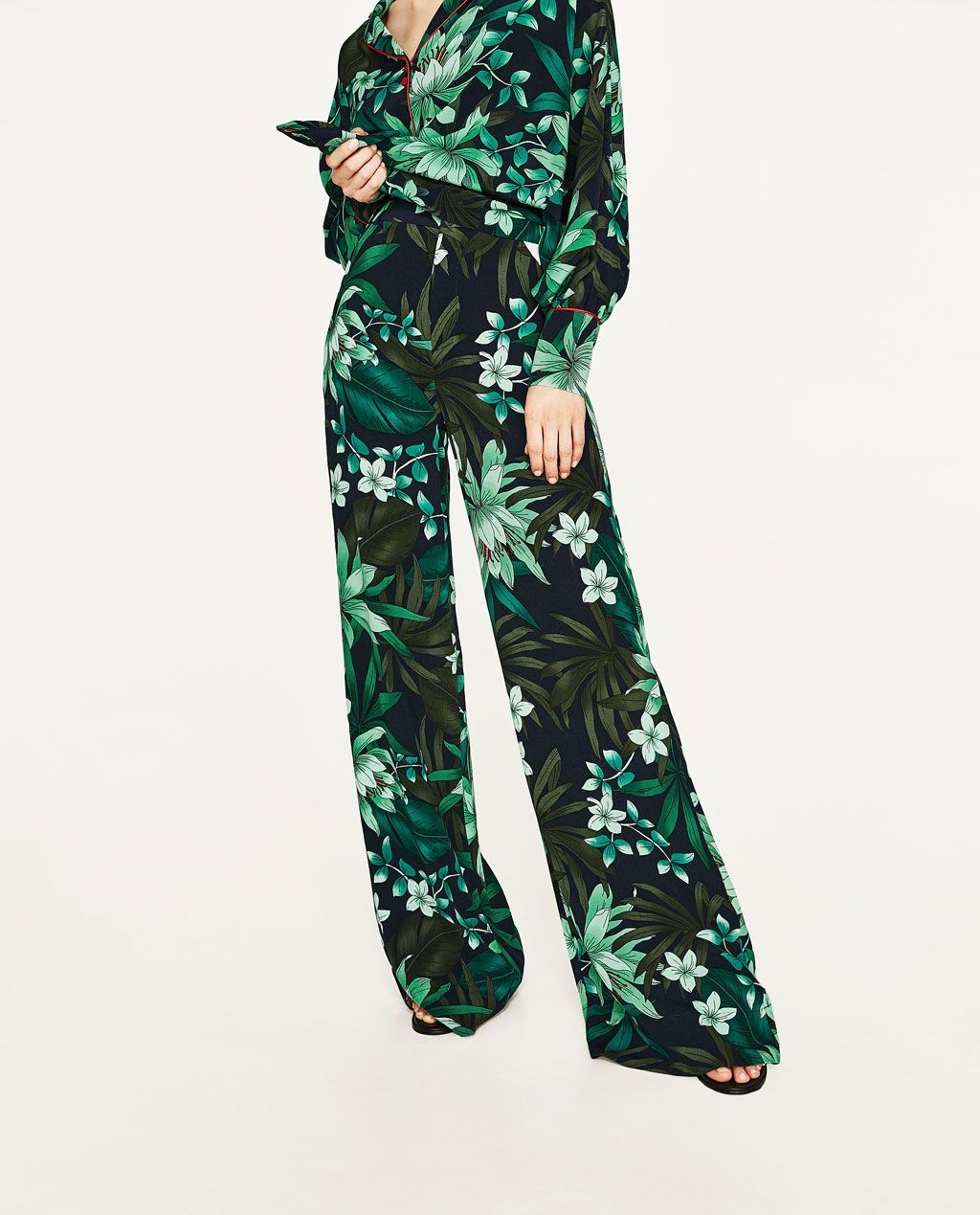 printed palazzo trousers-wide-trousers-woman | zara united