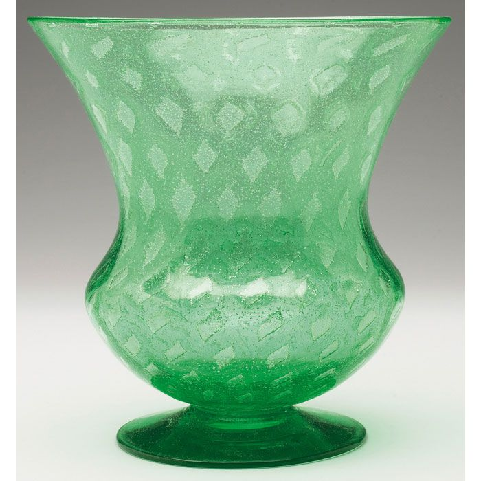Steuben Vase Footed And Flaring Shape In Pomona Green Glass With A