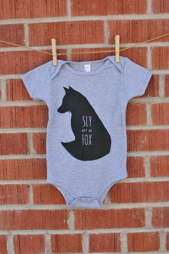 ee08d7816a4 Sly as a Fox - Screenprint Baby Fox Onesie - Woodland Baby - Toddler Romper  - Fox Onesie - One piece in Grey Cotton