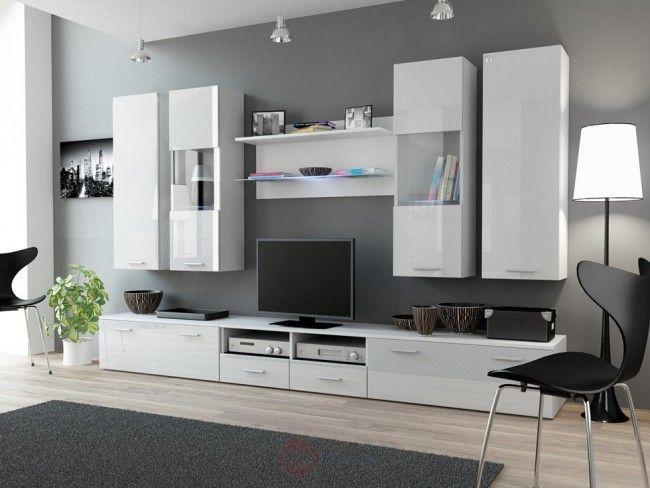 01 – bianco opaco / bianco lucido Combinazioni di mobili soggiorno ...