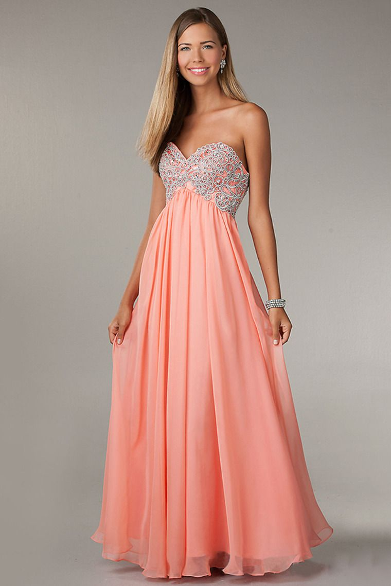 beaded bodice a line chiffon floor length sweetheart prom dress