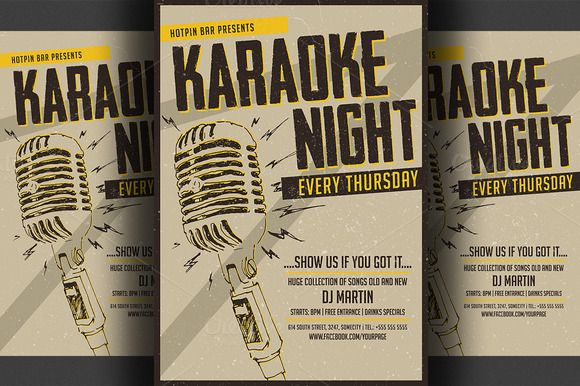 Karaoke Night FlyerPoster Template  Template Flyer Template And