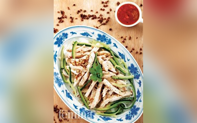 Bon Bon Chicken Resep Ayam Resep Salad Timun Jepang