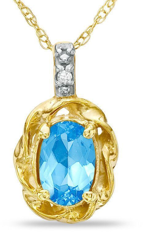 Zales Marquise White Topaz and Diamond Accent Pendant in 10K Gold z7Lnxj6