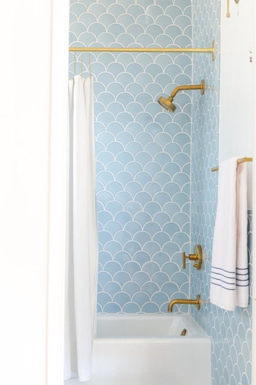 Pin by sy on bath Pinterest Fish scale tile, Interiors and Blue bath
