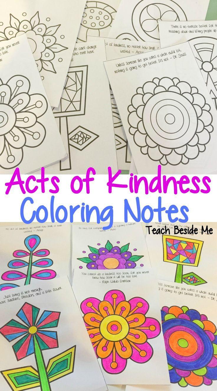 Random Acts Of Kindness Coloring Notes For Kids Printable Set Via Karyntripp