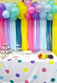 We love the colorful polka dot tablecloth and balloon backdrop! #littlegirlsbirthday #partydesigns