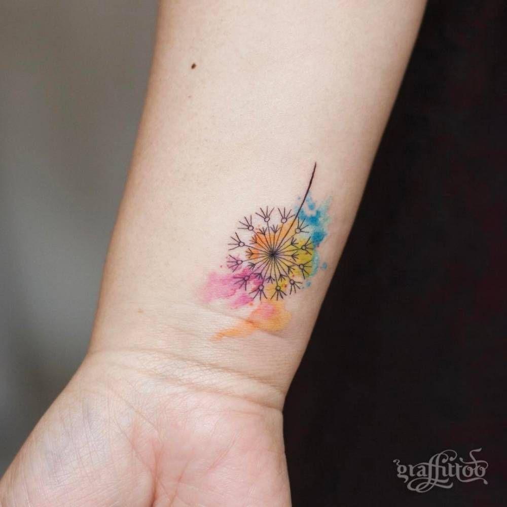 Dandelion Tattoo On The Inner Wrist Dandelion Tattoo Cute