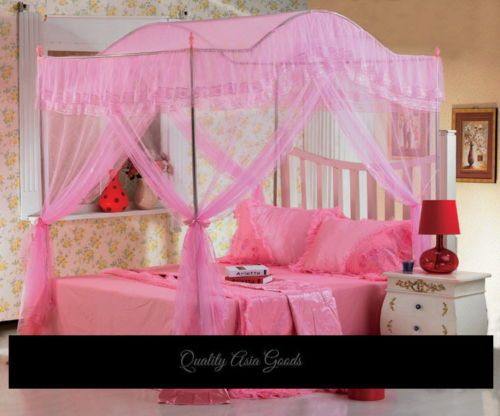 Fairy Bed Canopy Mosquito Net W Frame Poles Set Pink 005set P Fq Ebay