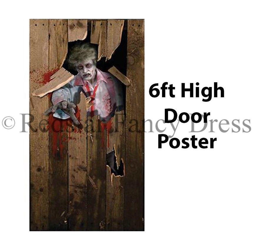 HALLOWEEN ZOMBIE SCARY DOOR POSTER FANCY DRESS DECORATION ACCESSORY - scary door decorations for halloween