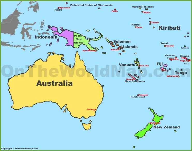 Map Of Oceania With Countries And Capitals Oceania Map Tuvalu Island