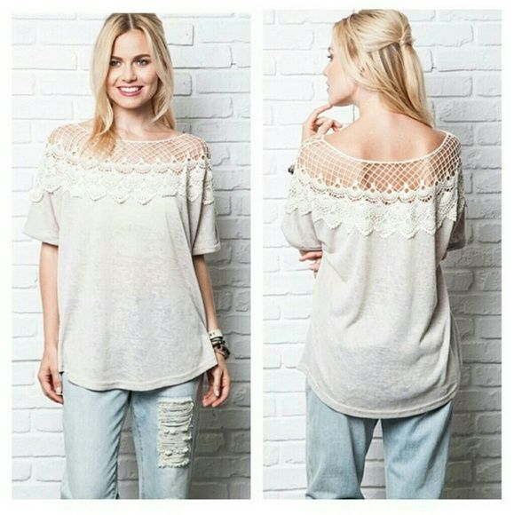 Taupe flowy t-shirt with crochet neckline Flowy, forgiving, comfortable and different. This shirt is so cute! Tops Tees - Short Sleeve