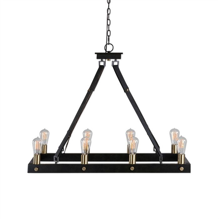 uttermost marlow antique bronze eight light rectangle chandelier on sale