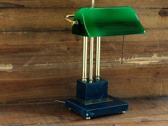 Banker's Desk Lamp Vintage Green Glass Shade by