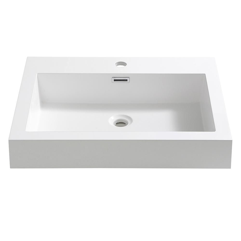 Fresca Nano 24 In Drop In Acrylic Bathroom Sink In White With