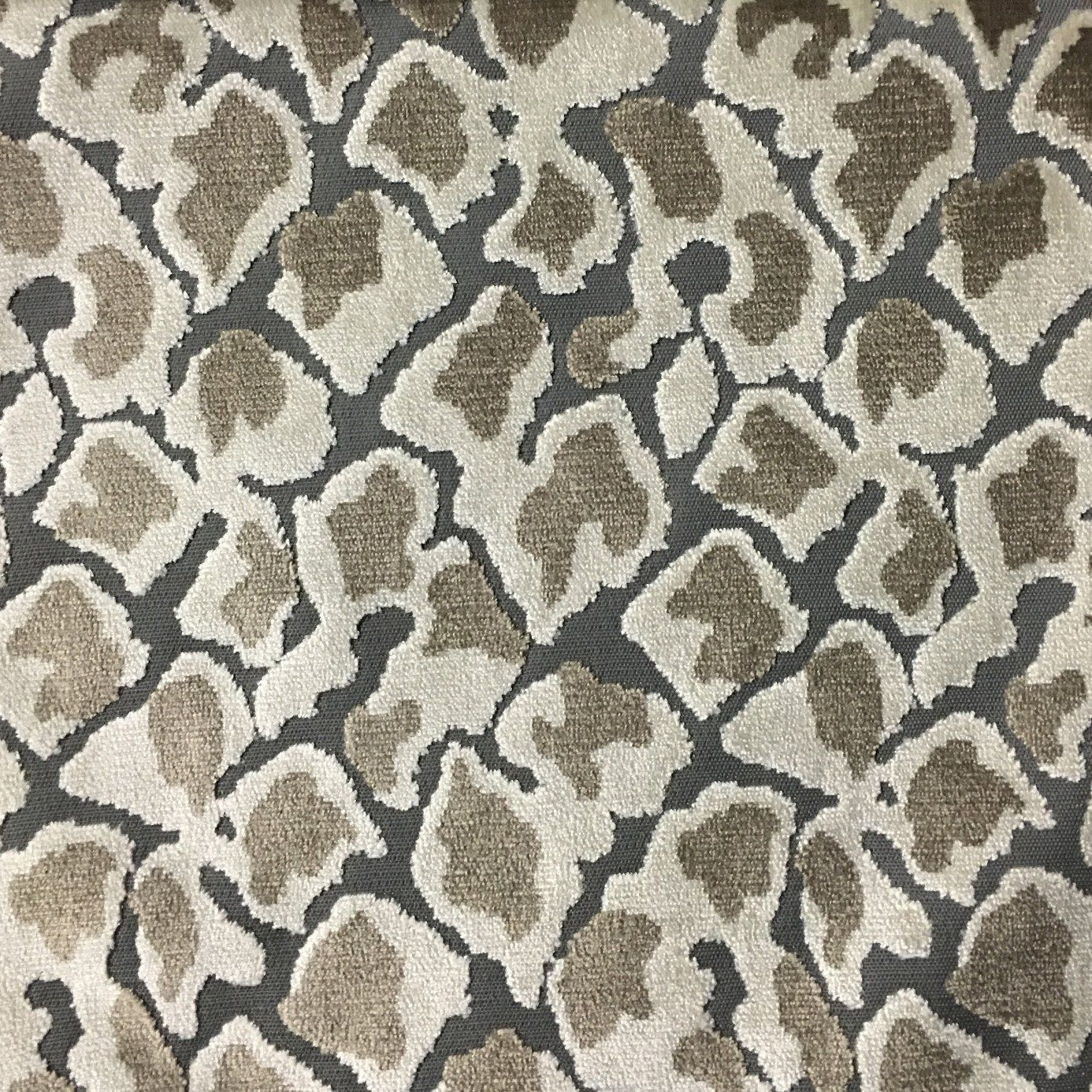 Hendrix Leopard Pattern Cut Velvet Upholstery Fabric By The Yard