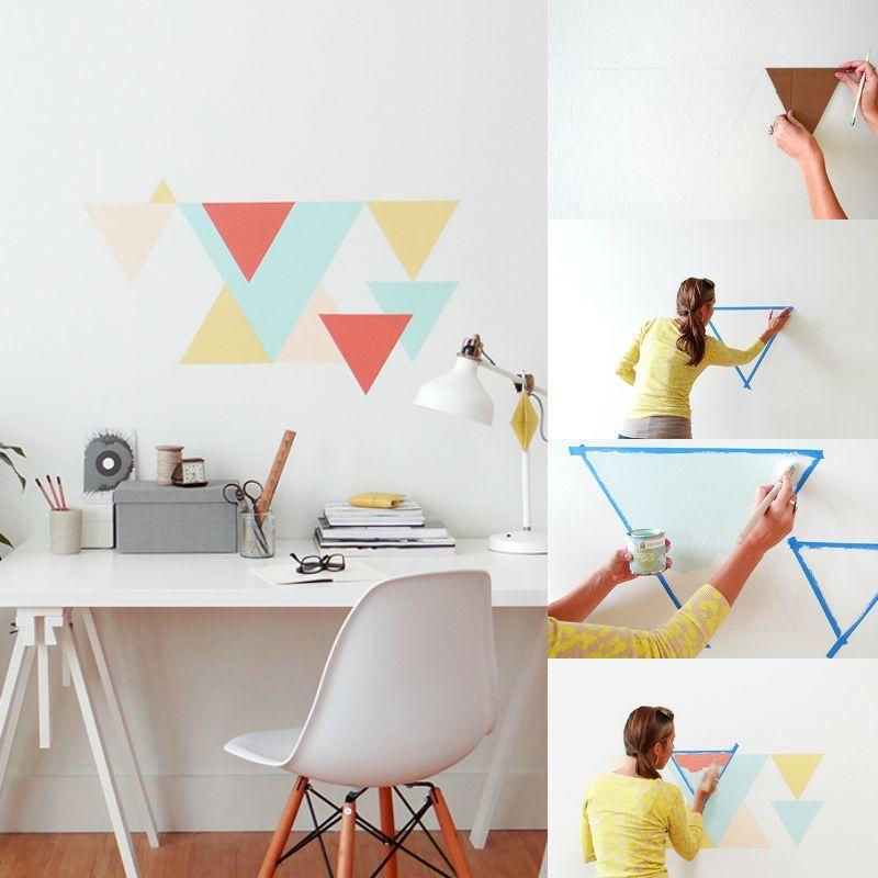 wandgestaltung selber machen geometrische muster an die wand streichen basteln pinterest. Black Bedroom Furniture Sets. Home Design Ideas