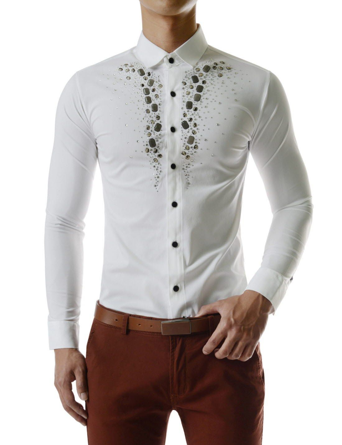 420825099 Luxury Stretchy Diamante Bling Gem Shine Rhinestones Long Sleeve Shirts at  Amazon Men's Clothing store: