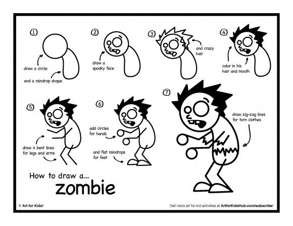 easy step by step instructions for kids on how to draw a zombie plus - How To Draw Printables