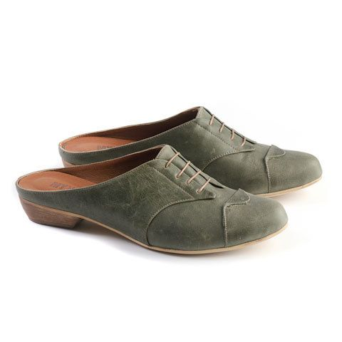 flat olive clogs women leather shoes olive shoes by MYKAshop, $209.00