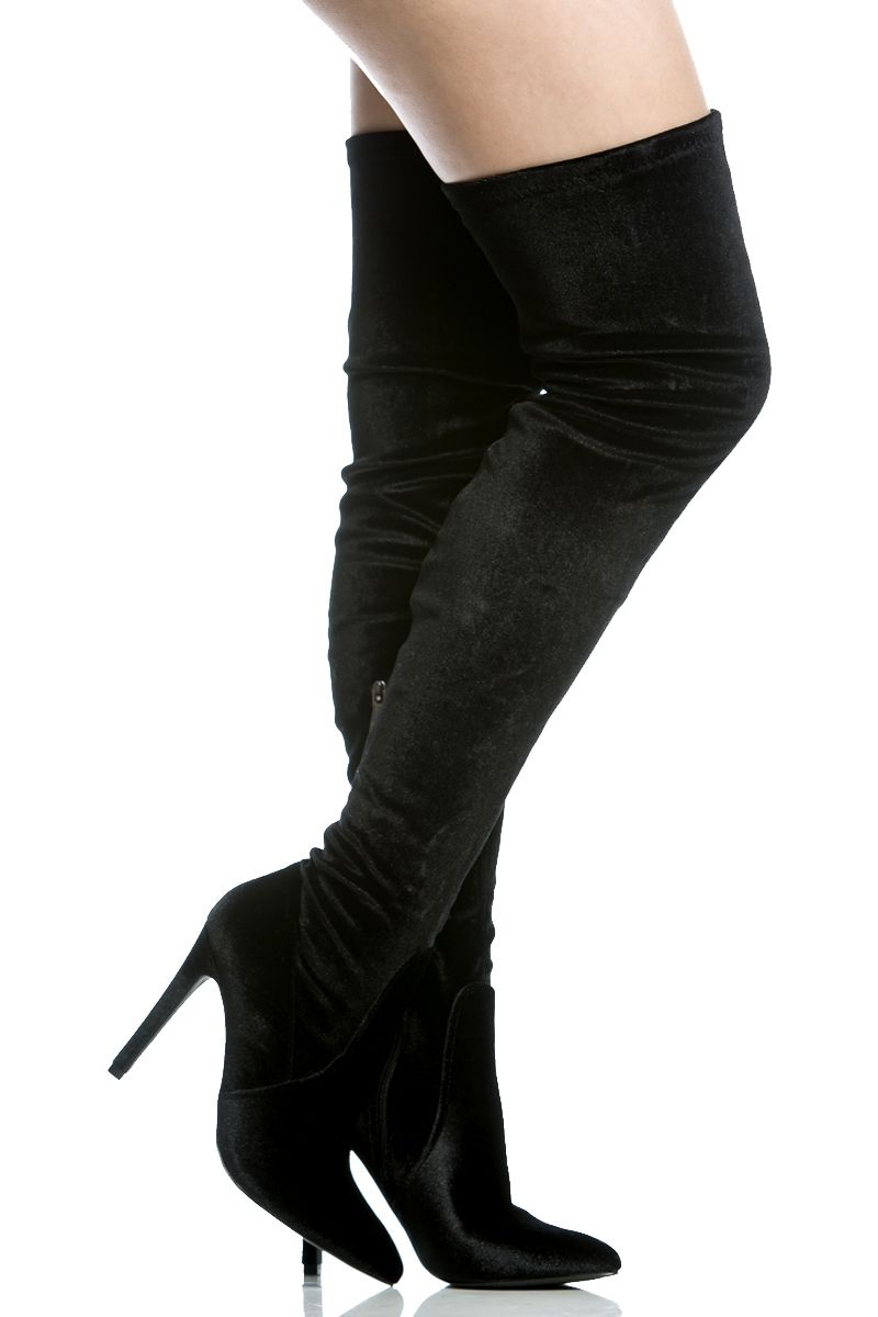 54cc7155c9a Black Velvet Thigh High Pointed Toe Boots   Cicihot Boots Catalog women s  winter boots