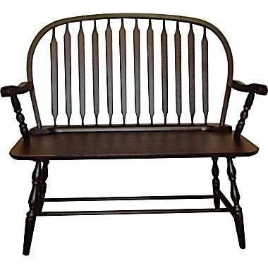 Carolina Cottage Colonial Windsor Bench Antique Black